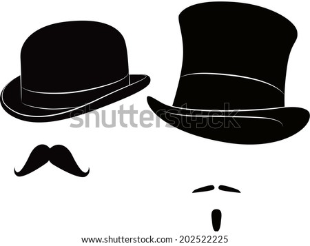 English bowler hat and cylinder and moustache for a real gentleman - stock vector