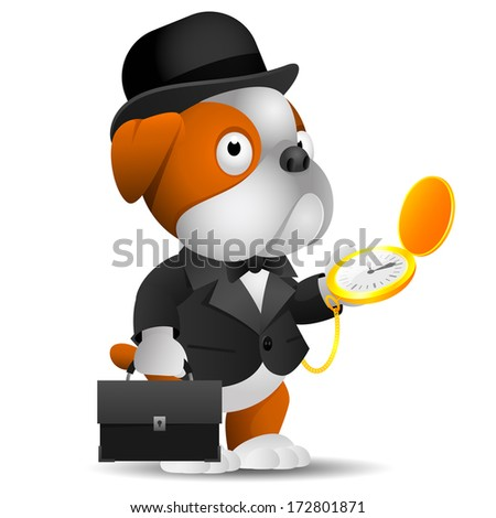 English bulldog holds suitcase and hours - stock vector