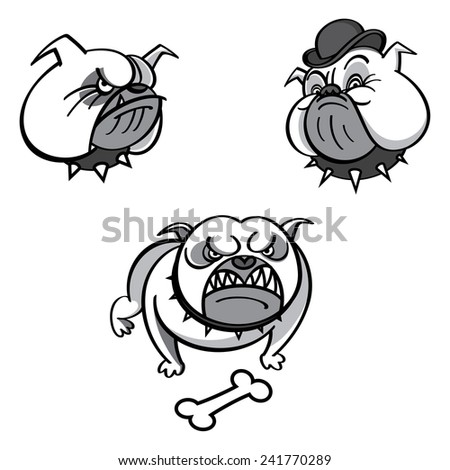 English bulldog in red spiked collar with bone - stock vector