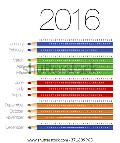 English calendar for 2016 on colorful pencils. Vector illustration - stock vector