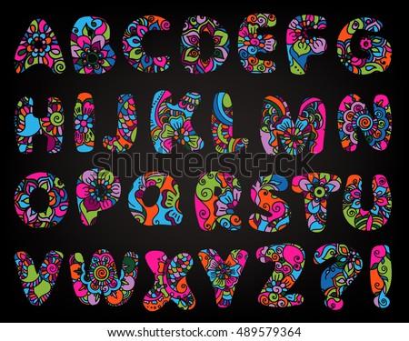 Henna Mehndi Vector : English cartoon alphabet mehndi style ornamental stock photo
