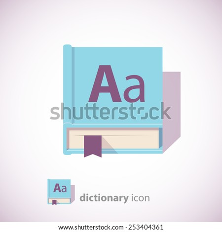 English Dictionary Icon, Blue Color, Isolated on White Background. Vector illustration. - stock vector