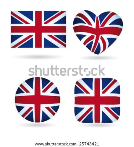 English flags vector collection - stock vector