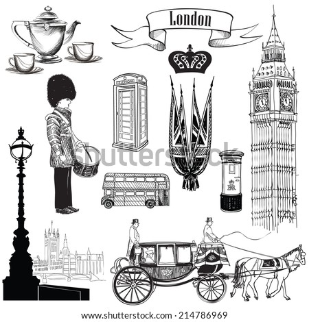 English icon set. London symbols, England, UK, Europe. Hand drawing vintage illustration over white  background.