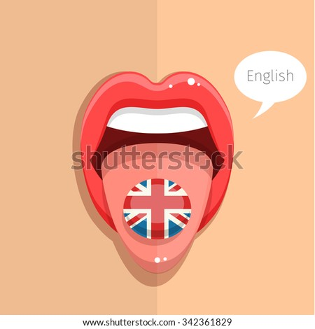 English language concept. English language tongue open mouth with flag of Britain, woman face. Flat design, vector illustration. - stock vector