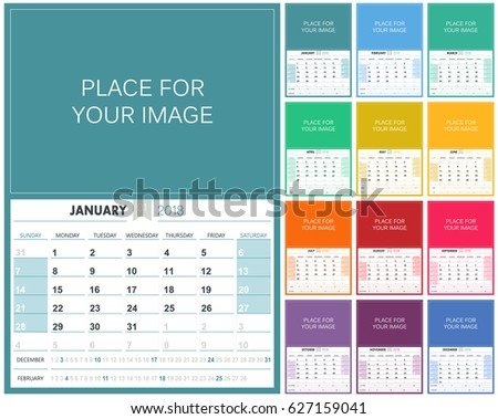 English planning calendar 2018, week starts on Sunday, colorful calendar template with place for your image, vector illustration