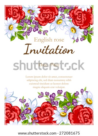 English rose. Romantic botanical invitation. Greeting card with floral background.