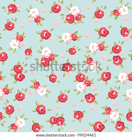 English Rose, Seamless wallpaper pattern with pink roses on blue background, vector illustration - stock vector