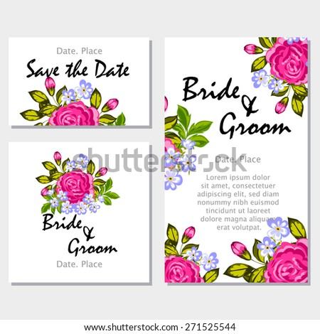 English rose wedding invitation cards floral stock vector hd english rose wedding invitation cards with floral elements flower vector background stopboris Image collections