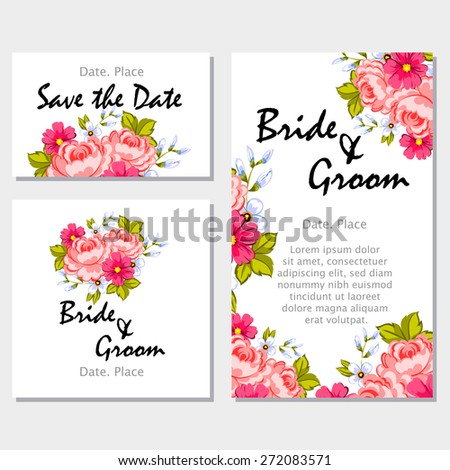 English rose. Wedding invitation cards with floral elements. Flower vector background.