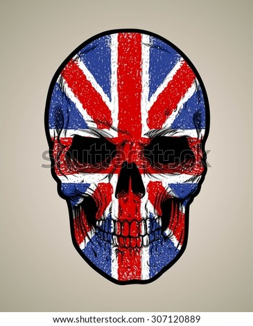 english skull face and grunge flag or texture - stock vector