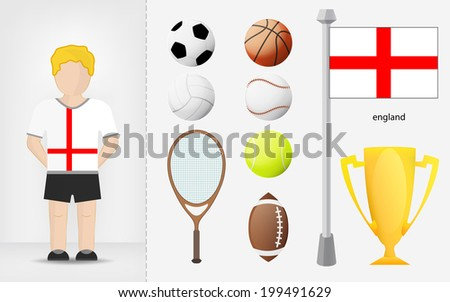 English sportsman with sport equipment collection vector illustrations - stock vector