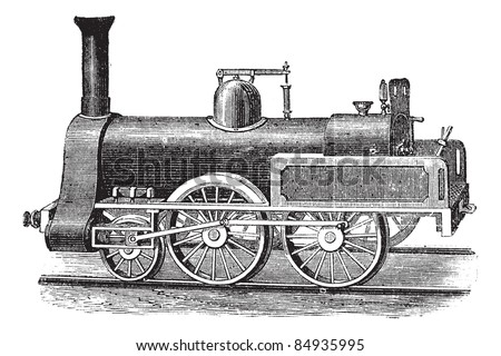 English Steam Locomotive, vintage engraved illustration. Trousset encyclopedia (1886 - 1891). - stock vector