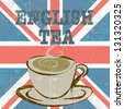 ENGLISH TEA VINTAGE POSTER-VECTOR - stock vector