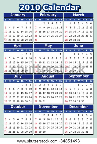 English 2010 vector calendar. Week starts on Sunday. Easy to edit and apply