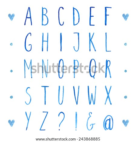 English watercolor alphabet with hand drawn tall letters. Vector type font. - stock vector