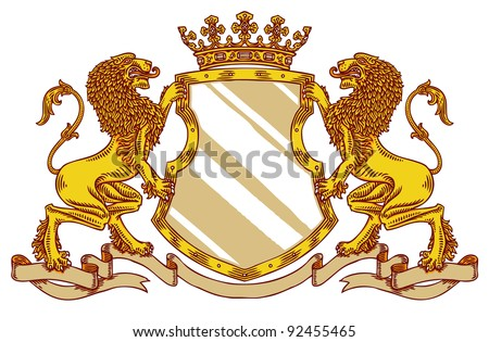 engraved medieval crest with crown and lions - stock vector
