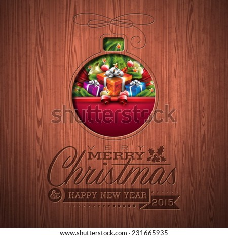 Engraved Merry Christmas and Happy New Year typographic design with holiday elements on wood texture background. EPS 10 Vector illustration.  - stock vector