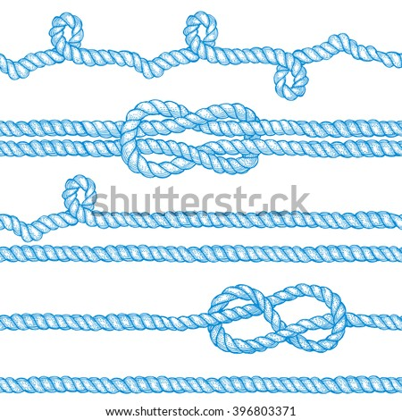 Engraved ropes and knots in vintage style, vector seamless pattern with eight knot, sailor knot and rope swirl. - stock vector