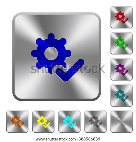 Engraved settings ok icons on rounded square steel buttons - stock vector
