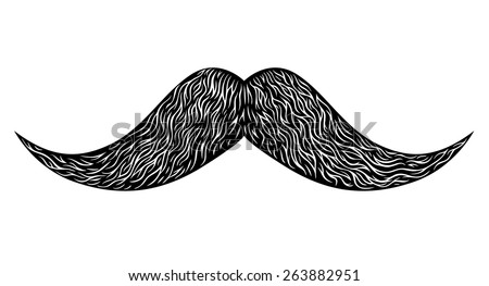 Engraved vintage long mustache. Vector illustration - stock vector
