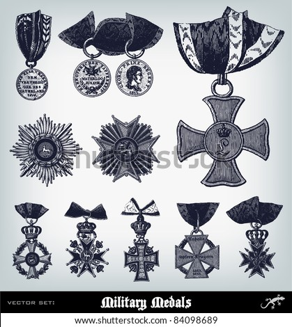 "Engraving ancient Military Medals set from ""The Complete encyclopedia of illustrations"" containing the original illustrations of The iconographic encyclopedia of science, literature and art, 1851. - stock vector"