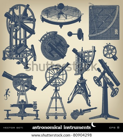 "Engraving astronomical instrument set from ""The Complete encyclopedia of illustrations"" containing the illustrations of The iconographic encyclopedia of science, literature and art, 1851. Vector. - stock vector"