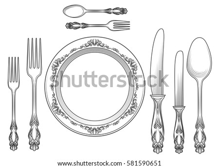 Engraving Empty Plate Spoon Knife Fork Stock Vector 581590651 ...