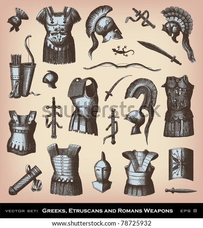 Engraving Greeks, Etruscans and Roman Weapons illustrations from atlas published in 1851 (The iconographic encyclopedia of science, literature and art). Vector image. - stock vector