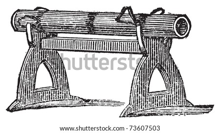 Engraving of a gun platform used at the Battle of Cressy in 1346. Old illustration of an antique gun used in the Hundred Year's war. - stock vector