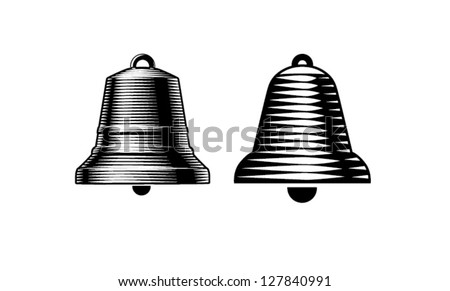 Engraving style bells. vector - stock vector
