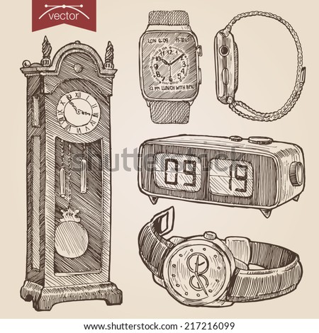 Engraving style pen pencil crosshatch hatching paper painting retro vintage vector lineart illustration clocks and watches set. Floor grandfather clock, alarm, wrist chronograph, smart watch. - stock vector