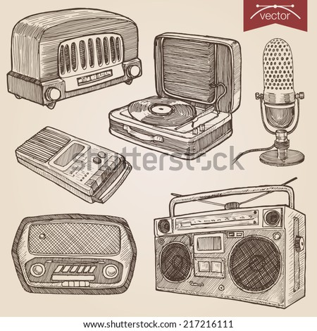 Engraving style pen pencil crosshatch hatching paper painting retro vintage vector lineart illustration music audio objects. Radio, turntable, microphone, cassette boombox, voice recorder. - stock vector