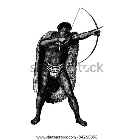 "Engraving vintage African man from ""The Complete encyclopedia of illustrations"" containing the illustrations of The iconographic encyclopedia of science, literature and art, 1851. Vector."