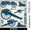 "Engraving vintage Cannon set from ""The Complete encyclopedia of illustrations"" containing the original illustrations of The iconographic encyclopedia of science, literature and art, 1851. Vector. - stock vector"