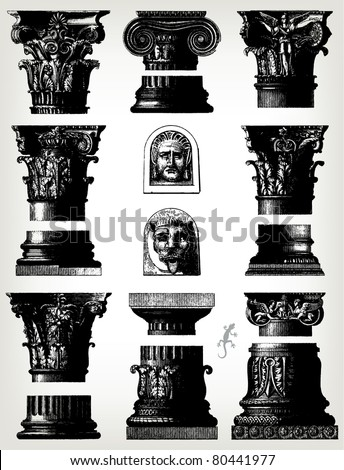 "Engraving vintage column set from ""The Complete encyclopedia of illustrations"" containing the original illustrations of The iconographic encyclopedia of science, literature and art, 1851. Vector. - stock vector"