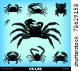 Engraving vintage crab illustrations from atlas published in 1851 (The iconographic encyclopedia of science, literature and art). Vector image. - stock vector