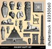 "Engraving vintage funeral Egypt set from ""The Complete encyclopedia of illustrations"" containing the original illustrations of The iconographic encyclopedia of science, literature and art, 1851. - stock vector"