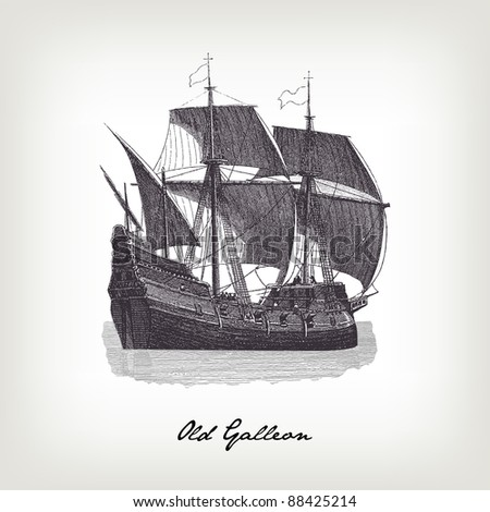 """Engraving vintage Galleon from """"The Complete encyclopedia of illustrations"""" containing the original illustrations of The iconographic encyclopedia of science, literature and art, 1851. Vector. - stock vector"""