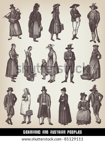 """Engraving vintage Germanic and Austrian people set from """"The Complete encyclopedia of illustrations"""" containing the illustrations of The iconographic encyclopedia of science, literature and art, 1851. - stock vector"""