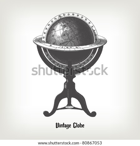 "Engraving vintage Globe from ""The Complete encyclopedia of illustrations"" containing the original illustrations of The iconographic encyclopedia of science, literature and art, 1851. Vector. - stock vector"