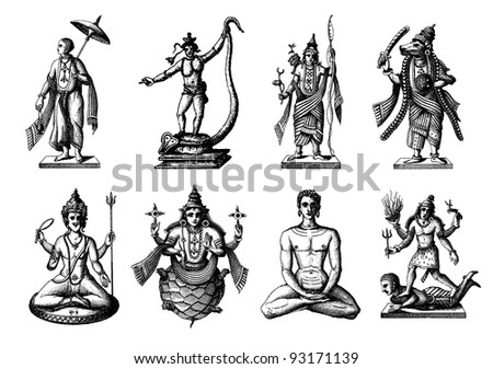 """Engraving vintage Hindoo statues from """"The Complete encyclopedia of illustrations"""" containing the original illustrations of The iconographic encyclopedia of science, literature and art, 1851. Vector. - stock vector"""