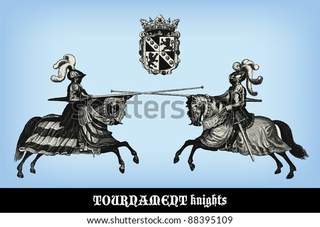 "Engraving vintage knights tournament from ""The Complete encyclopedia of illustrations"" containing the original illustrations of The iconographic encyclopedia of science, literature and art, 1851. - stock vector"