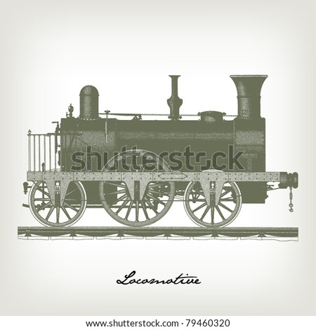 "Engraving vintage Locomotive set from ""The Complete encyclopedia of illustrations"" containing the original illustrations of The iconographic encyclopedia of science, literature and art, 1851. Vector. - stock vector"