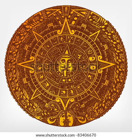 """Engraving vintage Maya calendar from """"The Complete encyclopedia of illustrations"""" containing the original illustrations of The iconographic encyclopedia of science, literature and art, 1851. Vector. - stock vector"""