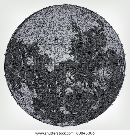 Engraving Vintage Moon Map The Complete Stock Vector (Royalty Free ...