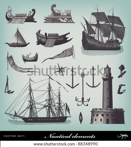 "Engraving vintage Nautical set from ""The Complete encyclopedia of illustrations"" containing the original illustrations of The iconographic encyclopedia of science, literature and art, 1851. Vector. - stock vector"