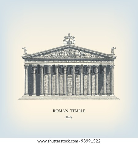 "Engraving vintage Roman temple from ""The Complete encyclopedia of illustrations"" containing the original illustrations of The iconographic encyclopedia of science, literature and art, 1851. Vector. - stock vector"