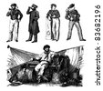 "Engraving vintage sailor men set from ""The Complete encyclopedia of illustrations"" containing the illustrations of The iconographic encyclopedia of science, literature and art, 1851. Vector. - stock vector"