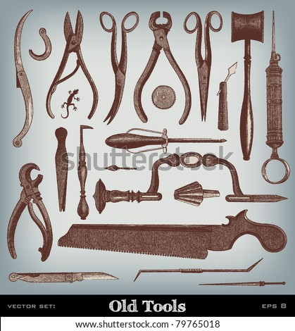 "Engraving vintage Surgery Tool set from ""The Complete encyclopedia of illustrations"" containing the original illustrations of The iconographic encyclopedia of science and art, 1851. Vector. - stock vector"